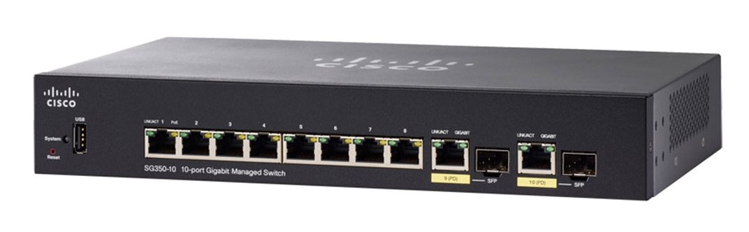 Thiết bị mạng Switch SG350-10P 10-port Gigabit POE Managed Switch