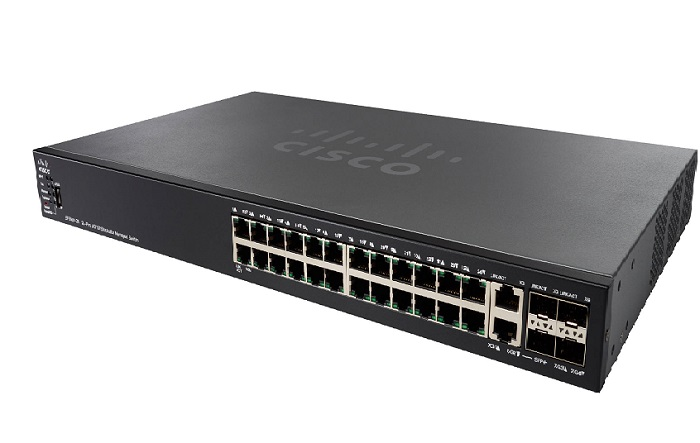 Thiết bị mạng 24-Port 10/100 PoE Stackable Managed Switch CISCO SF550X-24MP-K9-EU