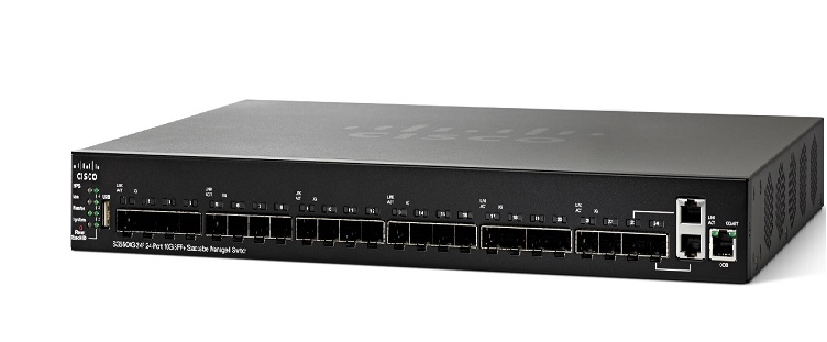 Thiết bị mạng 24-Port 10G SFP+ Stackable Managed Switch CISCO SG550XG-24F-K9-EU